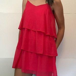 Francesca's blue rain pink sleeveless ruffle dress